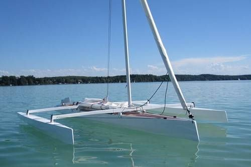 The Trika 540 trimaran can be built from plywood at home | cj | Boat kits, Sailboat, Boat plans