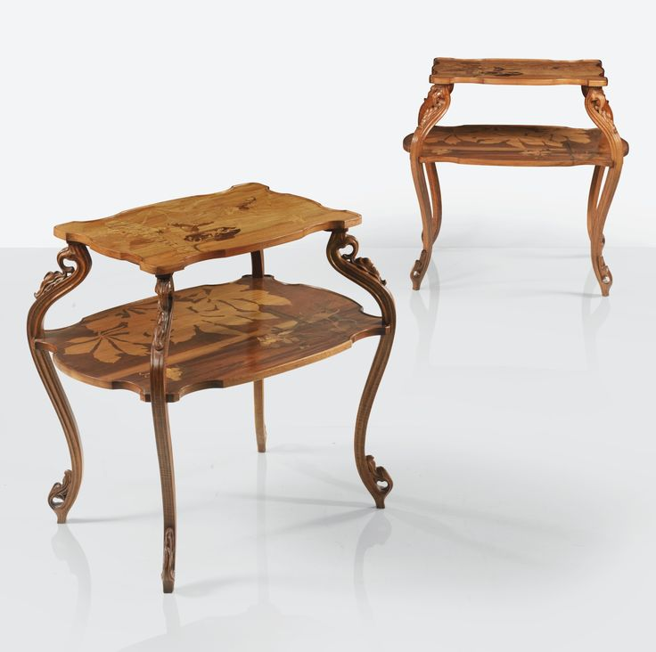 Emile Gallé  A PAIR OF WALNUT AND FRUITWOOD MARQUETRY OCCASIONAL TABLES, CIRCA 1897. SIGNED AN IDENTICAL TABLE IS IN THE COLLECTION OF THE MUSÉE D'ORSAY UNDER THE INVENTORY NUMBER OAO 874.