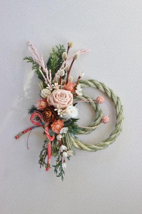 K様ご依頼品 バニラピンクのばら お正月リース by Rakas フラワー・ガーデン プリザーブドフラワー