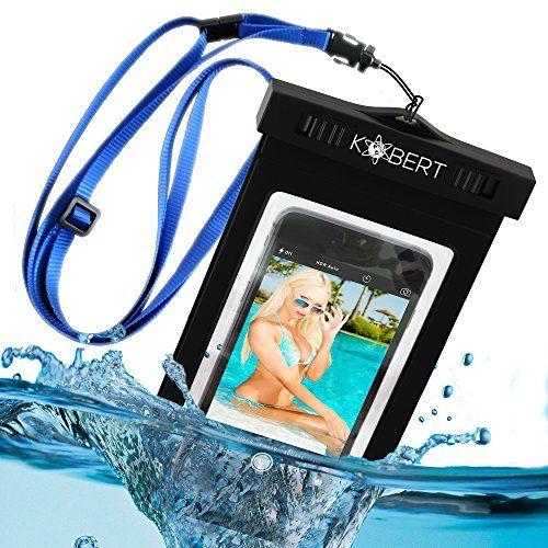 Kobert Waterproof Case (Deluxe) – Bag Fits iPhone 6 Plus, 6, 5, 5c, Samsung Galaxy s6, s6 Edge, s5, s4, Note 4, LG G3 – Blue Adjustable Strap   Kayaking Outpost