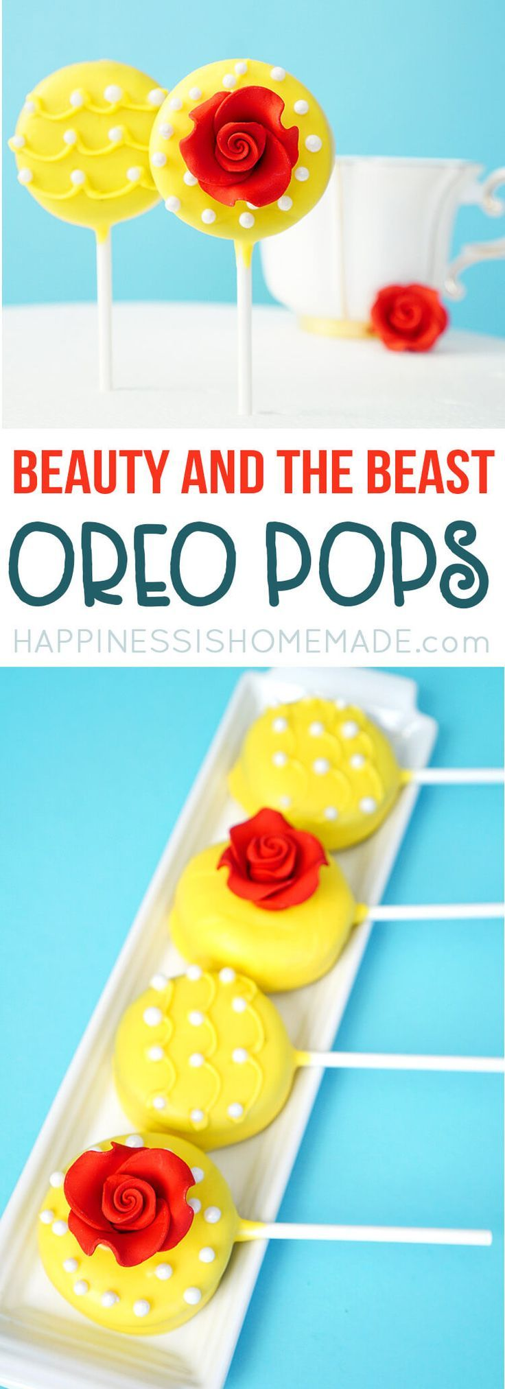 Beauty and the Beast Oreo Pops are the perfect sweet treat to celebrate the new live-action Disney movie premiere, and they're super quick and easy to make! via @hiHomemadeBlog