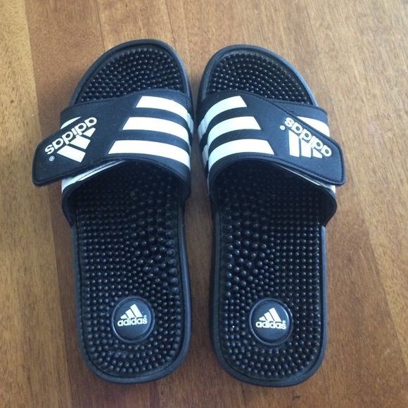 Adidas slippers Black and White adidas athletic slippers Adidas Shoes Slippers