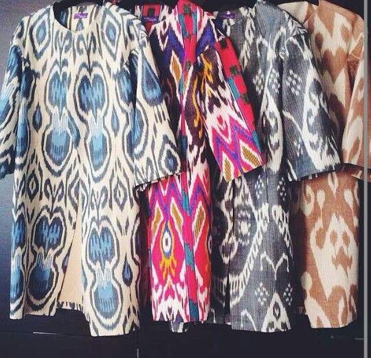 Uzbek ikat. Uzbek vintge. Silk fabric. Handmade.