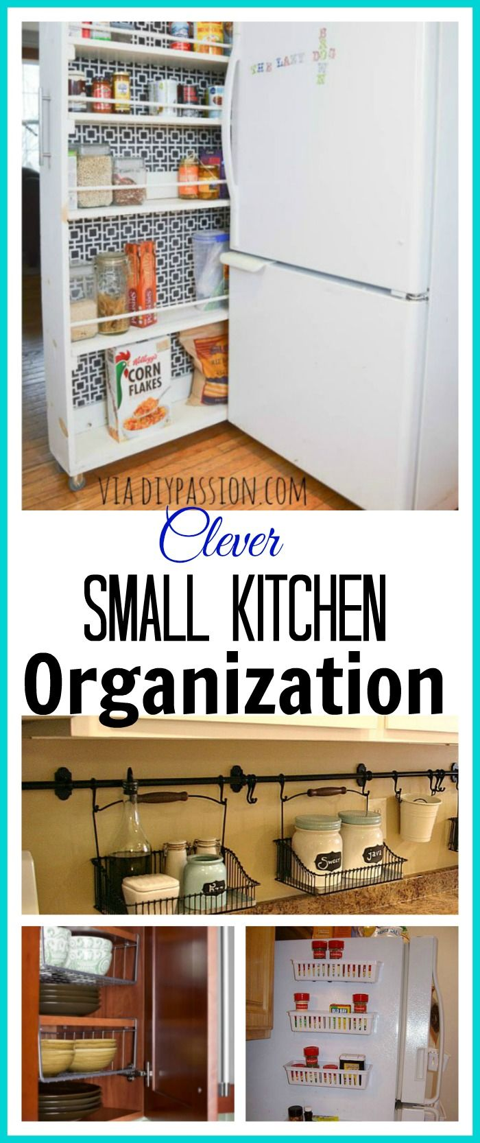 Great ideas for organizing your small kitchen and maximizing space!