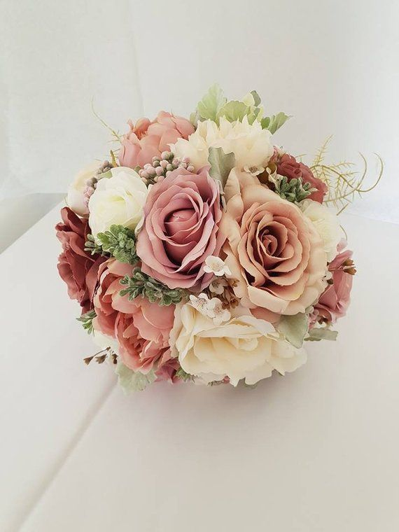 Paris Artificial Blush Pink Mauve Silk Wedding Bouquet Rose Pink