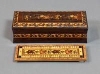 """Lot No 916 A Victorian Tunbridge Ware waisted rectangular card box with interior cribbage board and floral decoration by J G Wise, Jun., 2 1/2""""h x 9""""w x 3 1/2""""d, sold for £240"""