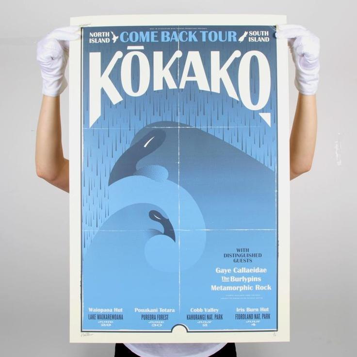 Endemicworld.com. Kokako Come Back - NI Screen Print by Walter Hansen. Blue.
