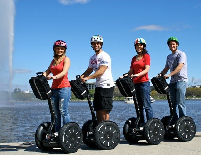 Segway hire so you can ride around Lake Burley Griffin Australia, I believe these are now banned as our traffic authorities say they do not have brakes, Segways are only available on private property in Australia .