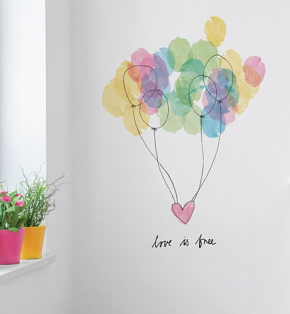 Free Love Colourful Balloons Removable Wall by LittleStickerBoy