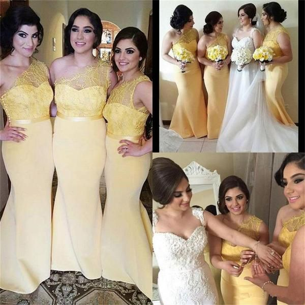 Long One Shoulder Gold Yellow Best Mermaid Unique Design Bridesmaid Dresses Pd0260