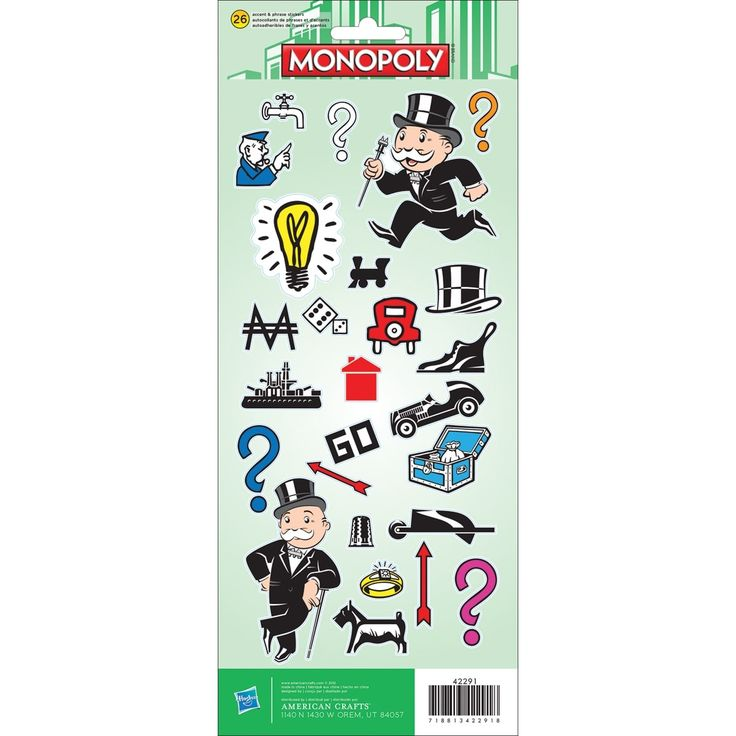 American Crafts Cardstock Stickers -Monopoly - monopoly