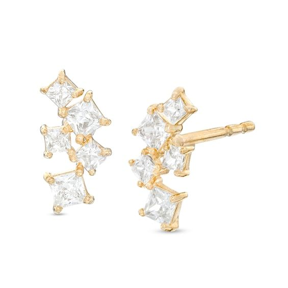 Square Cubic Zirconia Scatter Stud Earrings In 10k Gold Piercing Pagoda In 2020 Stud Earrings Earrings Piercing Pagoda