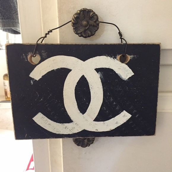RARE, authentic wooden Brandy Melville Chanel sign Authentic wooden Brandy Melville sign. Chanel logo. Distressed wood, all of their signs are made that way. Rare and no longer sold in stores. **NO TRADES** Brandy Melville Other