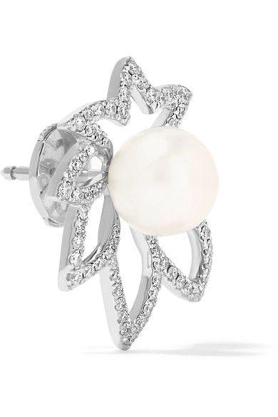 Yvonne Léon - 18-karat White Gold, Diamond And Pearl Earring - one size