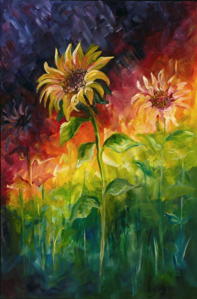 #14 This painting is an example of Representational art. As the subject matter is clearly a sunflower. When the viewer looks at this piece they know, despite the color pallet used here, they are in fact looking at sunflowers-therefor making this artwork more realistic than abstract.