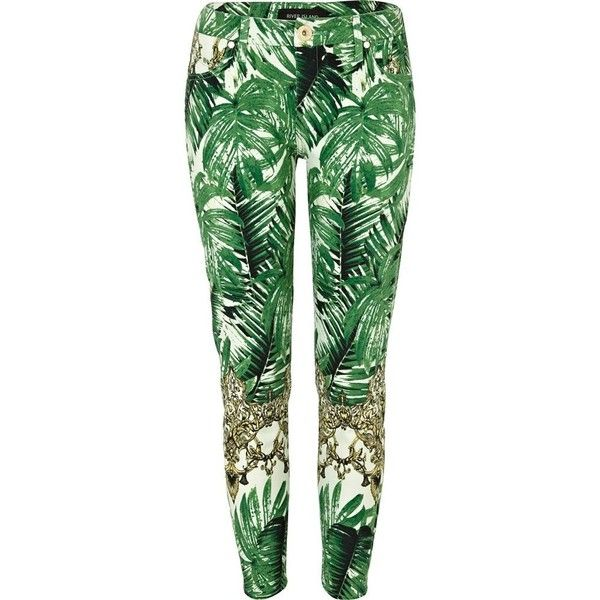 River Island Green Tropical Palm Print Ankle Grazer Jeans ($24) ❤ liked on Polyvore