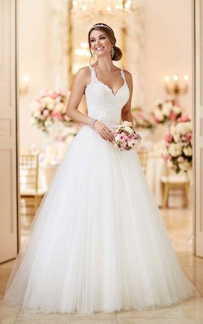 White Lace Spaghetti Straps Wedding Dress,Floor Length Tulle V-Neck Bridal Dress from lass