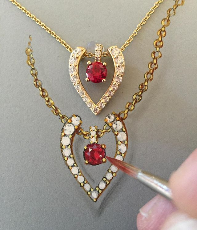 The #jewelrydesign next to the #realthing #18k over #sterlingsilver #ruby and #diamondsimulant different materials, same #designquality Only on #jewelrytelevision #jtvjewelrylove RRB217. Oh and the #babypendant in the center is an #enhancer! #remyrotenier #jewelryartist #heartjewelry