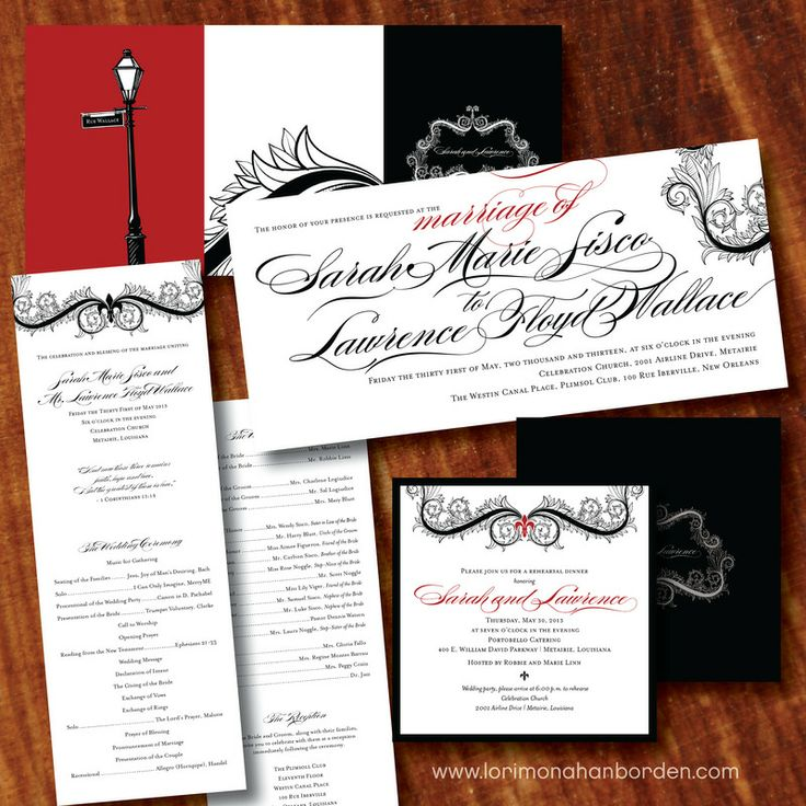New Orleans Red And Black Wedding Invitations  Lamppost, Fleur De Lis And  Scrolls Lori
