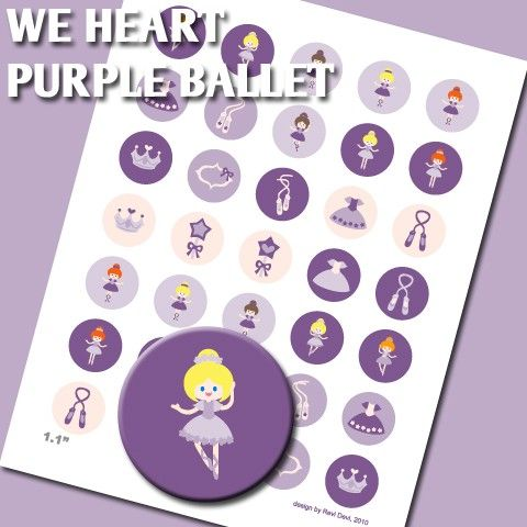 We Heart Purple Ballet 02154  Printable Circle  by BlessedShop