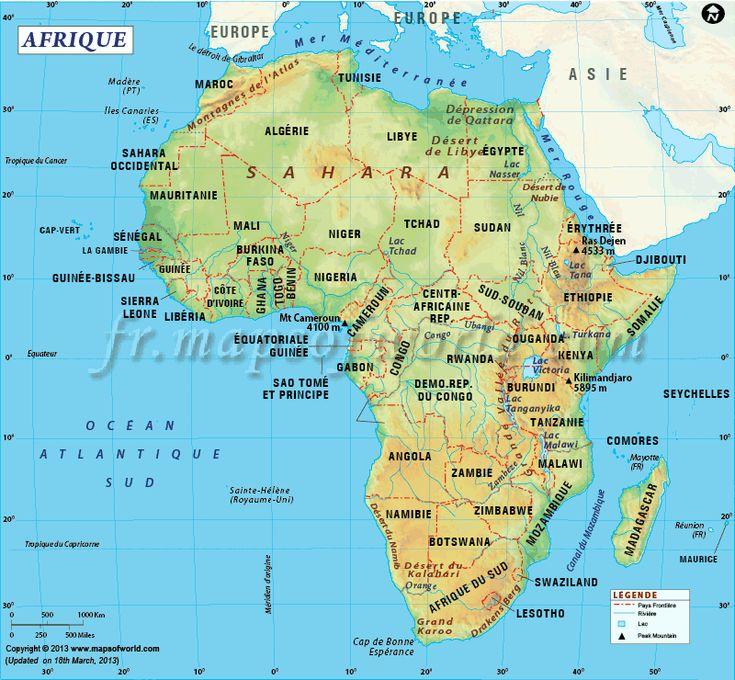 Carte de l'Afrique - deuxième plus grand continent du monde de par sa superficie et sa population.