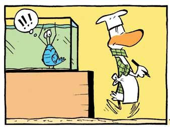 O'oh. Bob the crayfish is worried the Swamp Chef is going to write him up on the menu board. If you like Bob the Crayfish and would like to see more cartoons please subscribe to a free daily cartoon: http://www.swamp.com.au/subscribe.php