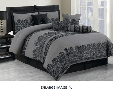 10 Piece Queen Miya Black and Gray Comforter Set ouou i like this set lol