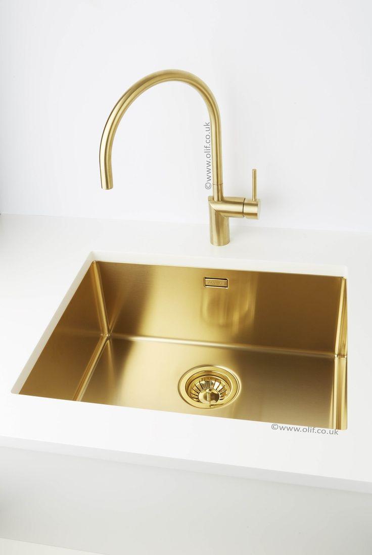 Nivito Rh 140 Brushed Brass Gold Kitchen Mixer Tap My
