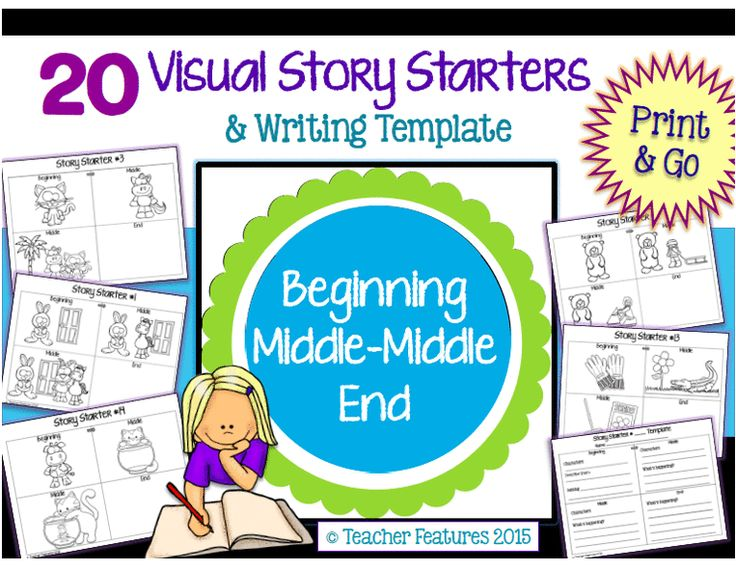 """Have you ever asked your students to write the beginning-middle-end of a story, only to find the middle is QUITE lacking? Well, I added an extra """"middle"""" to each Visual Story Starter template, in the hopes to """"beef up"""" the stories. Each Story Starter template has a """"Beginning- Middle- Middle- End"""" pattern. Yes, two Middles. Just Print and Go!"""