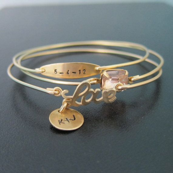 Personalized Wedding Jewelry, Personalized Anniversary Gift for Her, Personalized Bridal Shower Gift, Anniversary Date, Wedding Date Jewelry via Etsy