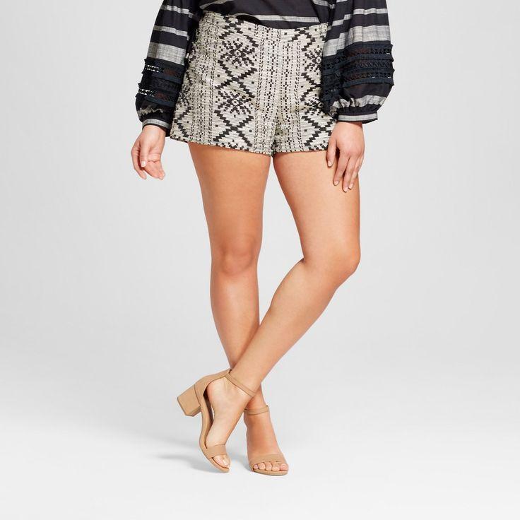 Women's Plus Size Lace Up Shorts - Who What Wear Black Aztec 22W