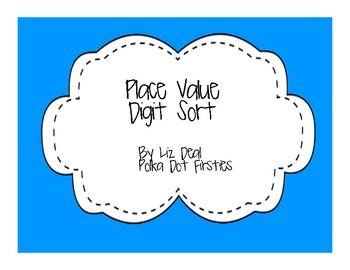 Place Value Digit Sort - Freebie