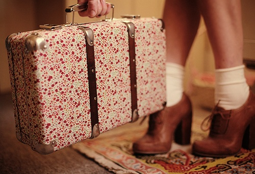 Liberty Print Suitcase, Beige socks and brown oxford heels