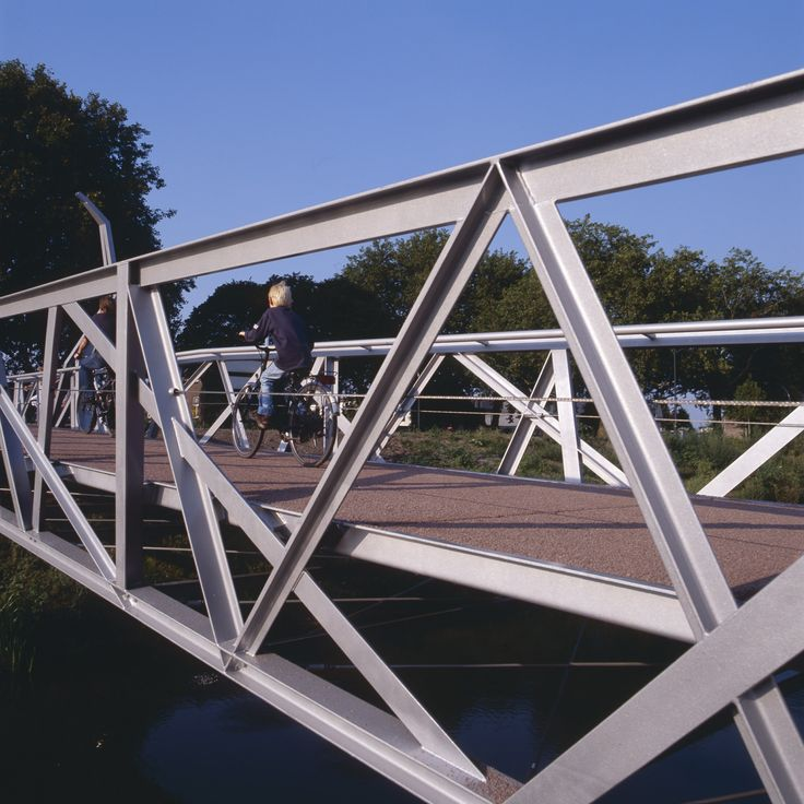 Detail of cycle and footbridge in Waalwijk the Netherlands. Design by ipv Delft.