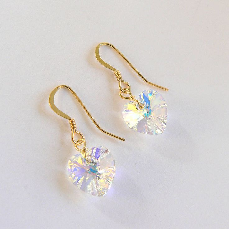 gold vermeil and swarovski heart earrings by clutch and clasp | notonthehighstreet.com £18.00