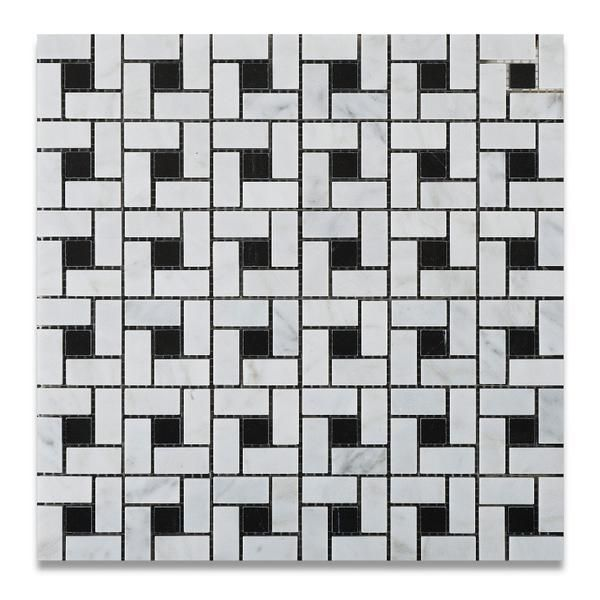 Premium (SELECT) Quality Carrara White Marble Honed Pinwheel Mosaic Tile w/ Black Dots