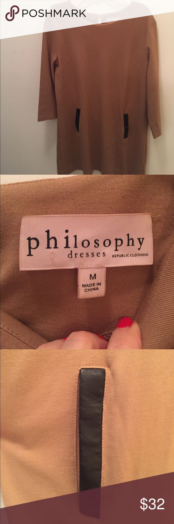 Philosophy by republic women's dress (M) -Beige dress with 3/4 length sleeves  -Barely worn -Machine washable -Has pockets  -Great for fall/winter Philosophy Dresses Long Sleeve
