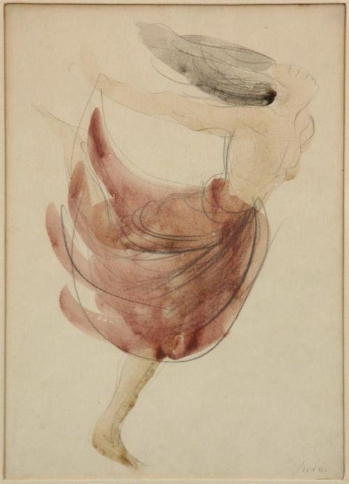 Auguste Rodin, Pencil, Watercolor on Paper
