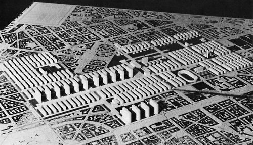 """Franco Albini, Ignazio Gardella, Giulio Minoletti, Giuseppe Palanti, Giangiacomo Predaval, and Giovanni Romano, """"Green Milan"""", Plan for the Sempione Zone, Milan, Italy, 1938"""