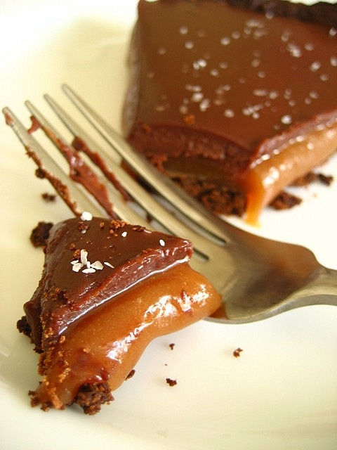Chocolate Sea Salt Caramel Tart..This is the most decadent and delicious pie you can make. I modify the crust..use 2 cups of crushed choc wafer cookies or choc graham crackers crushed up with 3/4 cup melted butter..press into tart pan and cook at 350 for 10 minutes..when cool just fill with the remaining recipe...INCREDIBLE!!!
