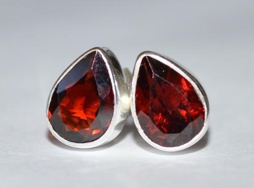 925 Sterling Silver Faceted Red Garnet Earrings 7x5mm: Scarlet Drops