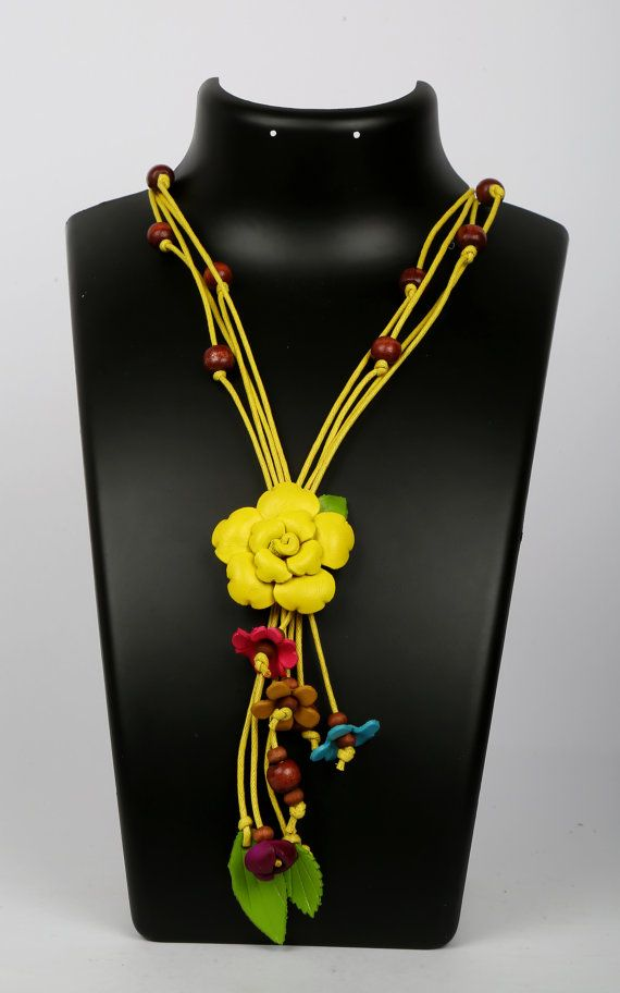 Leather Flower Necklace by LeatherAX on Etsy