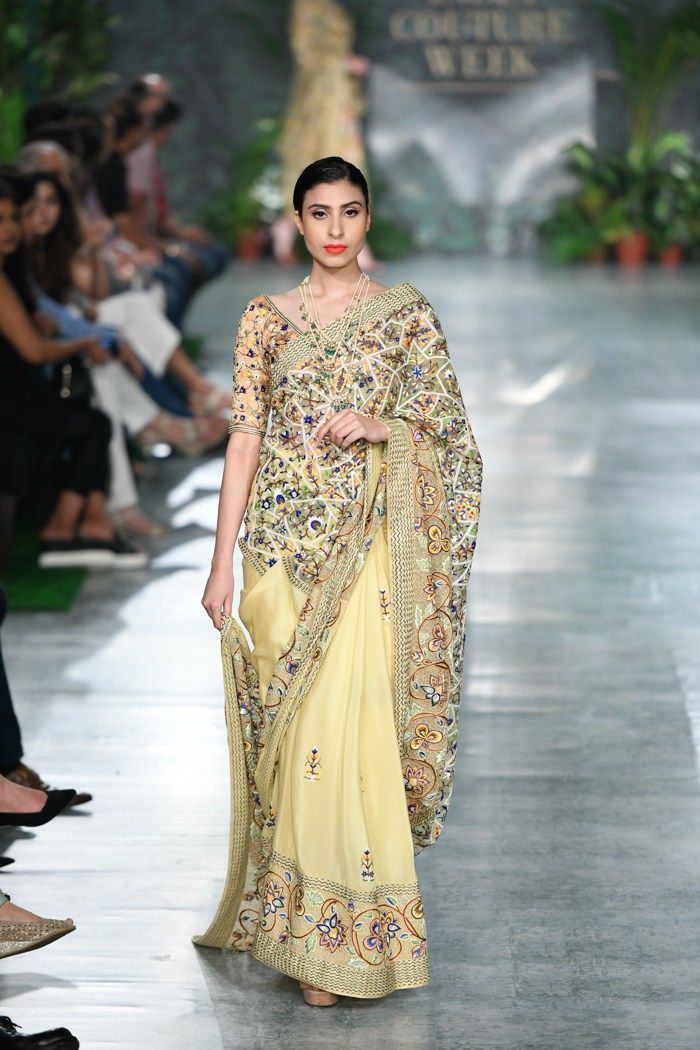 8d2367484b Rahul Mishra ICW 2018. Lemon yellow embroidered saree. #Frugal2Fab ...