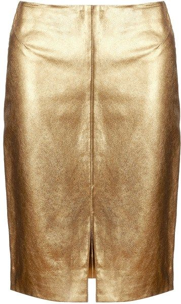 Lagence Gold Gold Leather Pencil Skirt