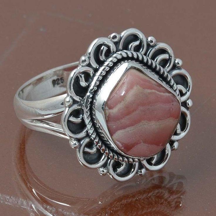RHODOCHROSITE 925 STERLING SILVER RING JEWELRY 6.58g DJR6971 SIZE 8.5 #Handmade #Ring