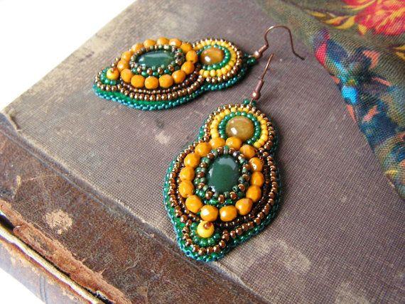 Bead embroidery Earrings Beadwork Earrings Green by MisPearlBerry