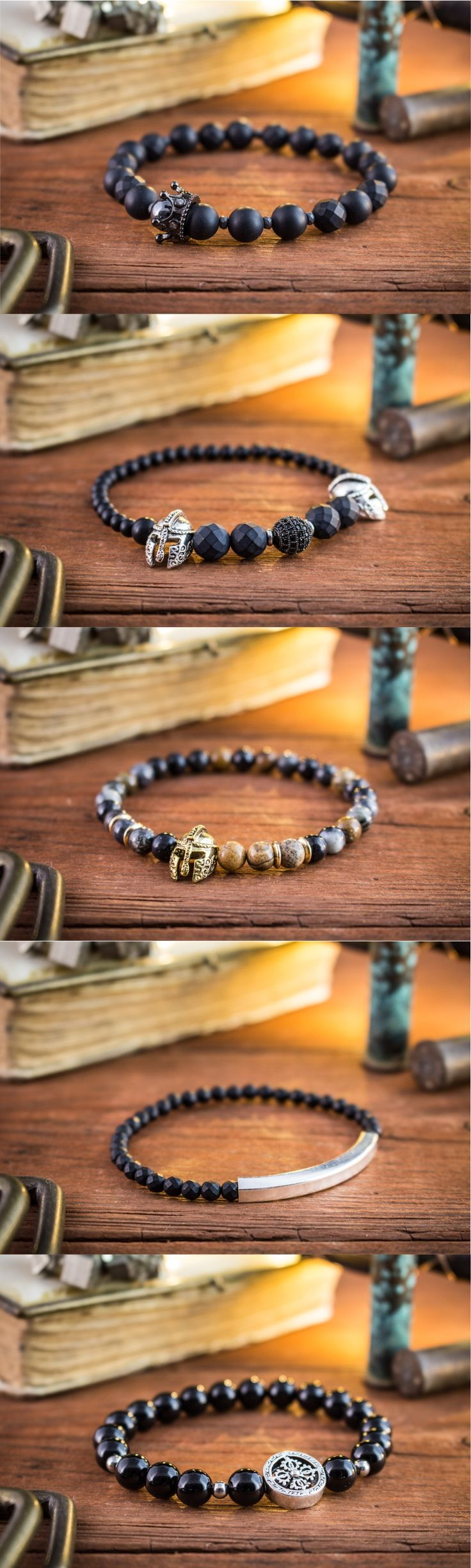 Selection of gemstone bracelets for men