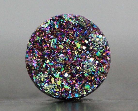 Tiny Druzy Bead, Titanium