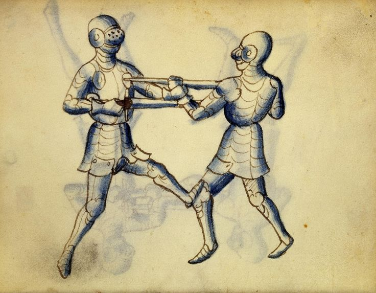 Cod. 11093, 25v: Book on Swordsmanship and Wrestling, mid-15th c. Austrian National Library, Public Domain