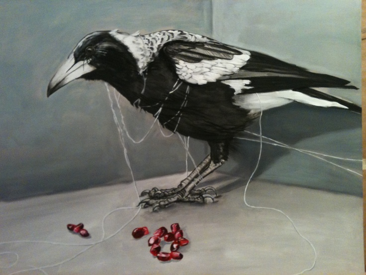 """Magpie, string and pomegranate seeds. Painting by Maggie Wheelock, 2013. Acrylic and charcoal on canvas. 48"""" x 70"""".  SOLD."""